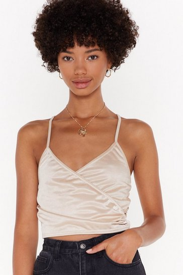 Womens Champagne Bare Your Soul Wrap Crop Top