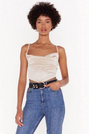 Womens Champagne Let's Cowl It Love Satin Strappy Crop Top