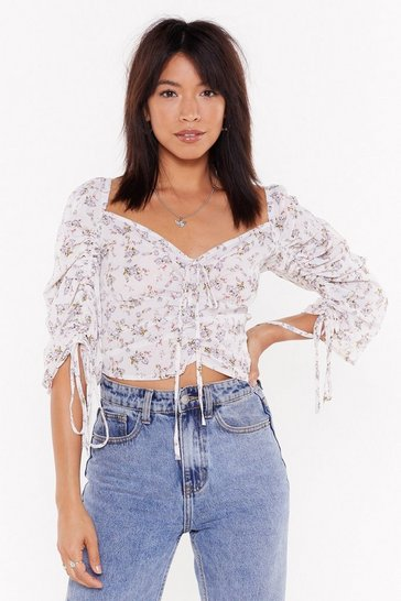 Womens Ecru Stalk the Stalk Floral Crop Top