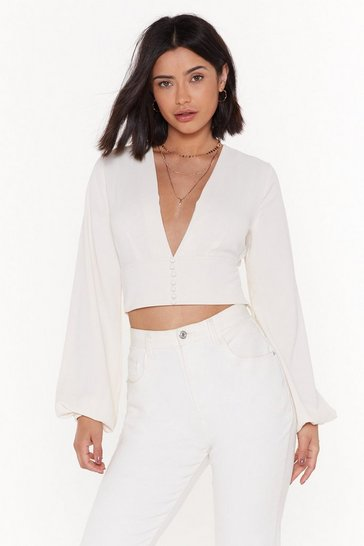 Ecru If You Could V Me Now Button-Down Crop Top