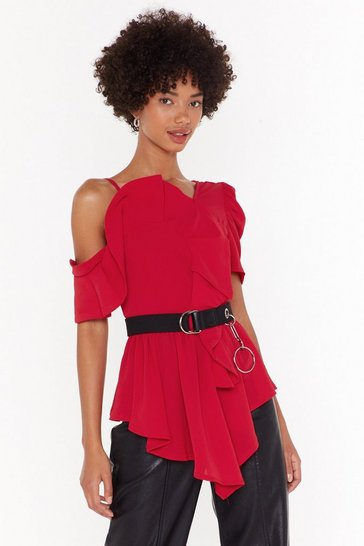 Womens Red Totally Shoulder It Asymmetric Blouse