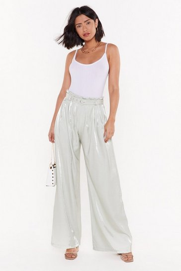 Womens Mint Belted Wide Leg Shimmer Pants