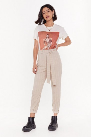 Womens Sand Don't Always Believe the Stripe High-Waisted Trousers