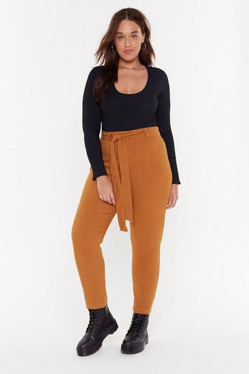 Womens Rust Tie to Behave Plus Linen Pants