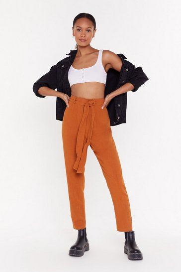 Womens Rust Higher Ground Tie Waist Tapered Trousers