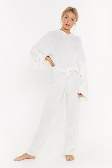 Womens Cream Give Knit A Rest Ribbed Wide Leg Lounge Pant