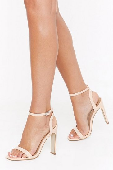 Womens Nude Heel It in the Air Faux Leather Strappy Heels