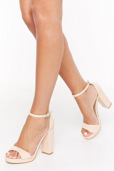 Womens Nude High on You Patent Faux Leather Platform Heels