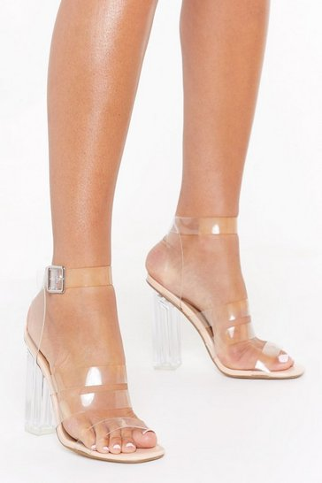 Womens Nude Isn't It Obvious Perspex Strappy Heels