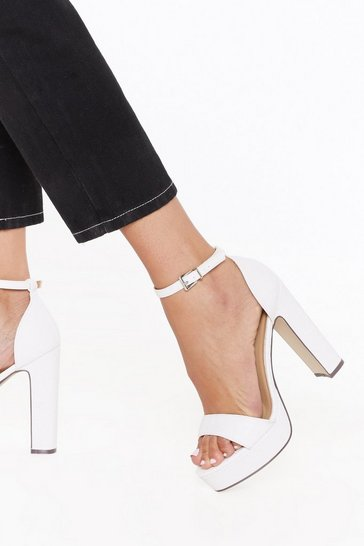 Womens White On the Rise Platform Heel
