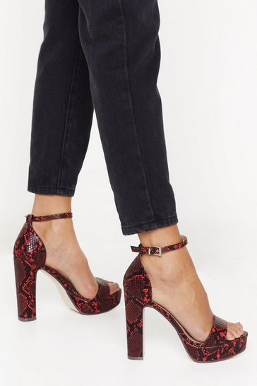 Red Hiss Night Won't Last Forever Faux Leather Platform Heels