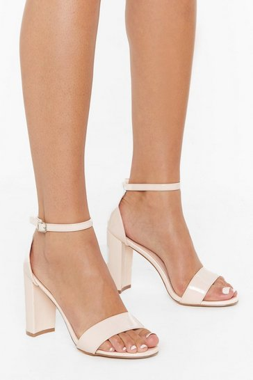 Womens Nude Be Patent Faux Leather Block Heels