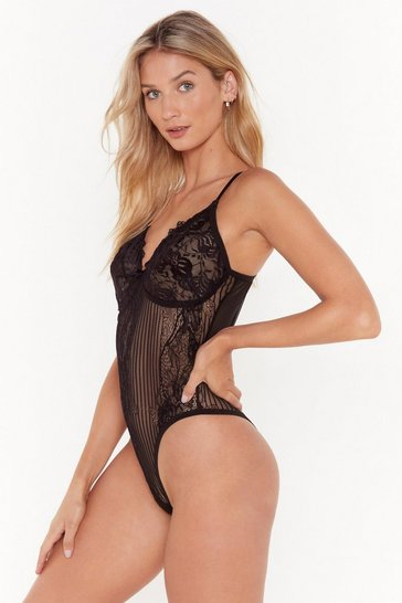 Womens Black You're So High Lace Bodysuit