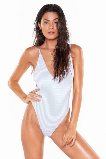 Womens White Nasty Gal Alina Striped High-Leg Swimsuit