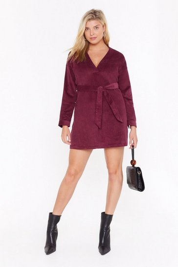 Maroon Record-uroy Breaker Belted Blazer Dress