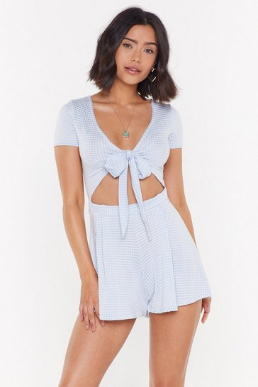 Blue Gingham a Minute Cut-Out Romper