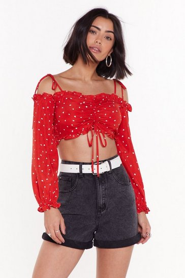 Womens Red Heart on My Sleeve Cold Shoulder Cropped top