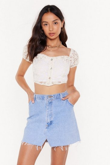 Womens Cream Don't Go Square Puff Sleeve Crop Top