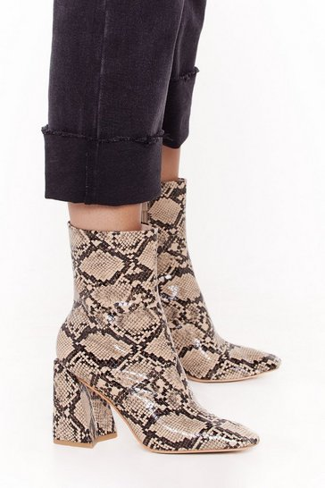 Natural Snake Print Square Toe Flare Heel Ankle Boot