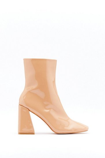 Womens Camel Square Toe Flare Heel Ankle Boot