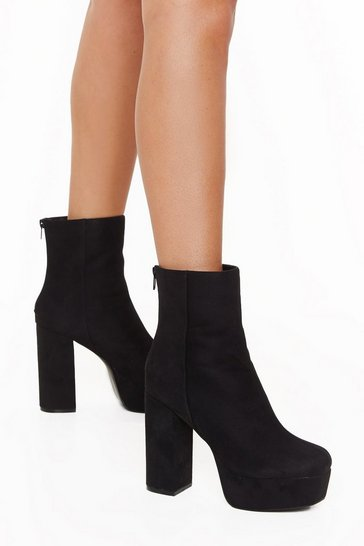 Womens Black Reign Above It All Faux Suede Platform Boots