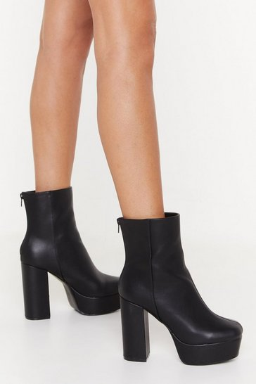 Womens Black Raise the Roof Faux Leather Platform Boots