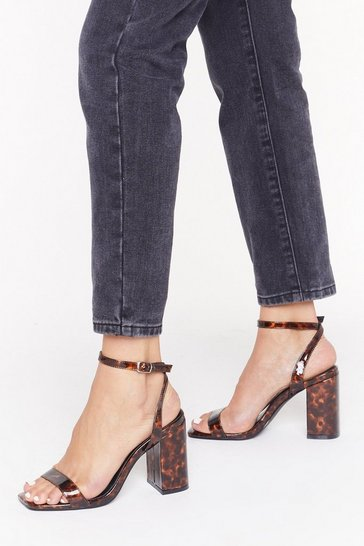 Brown Square Toe Tortoiseshell Block Heels