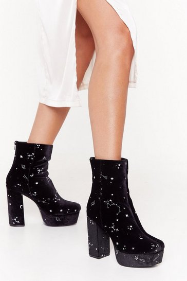 Womens Black If It's Any Constellation Velvet Platform Boots