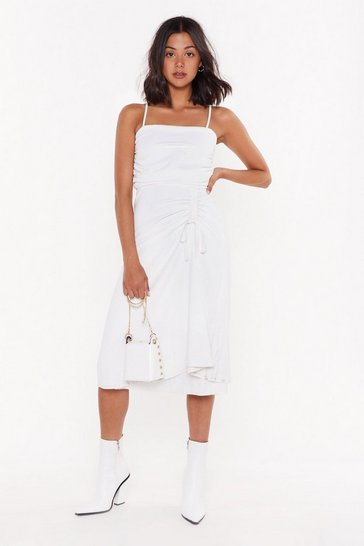 Womens White Square is the Love Ruched Midi Dress