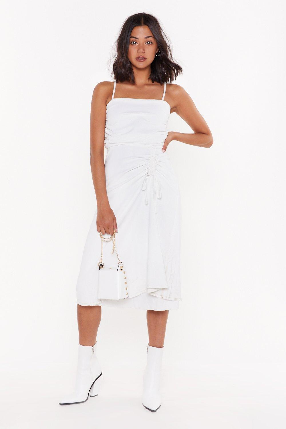 Square Is The Love Ruched Midi Dress by Nasty Gal