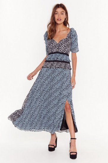 Womens Blue Growin' Out Tonight Floral Maxi Dress