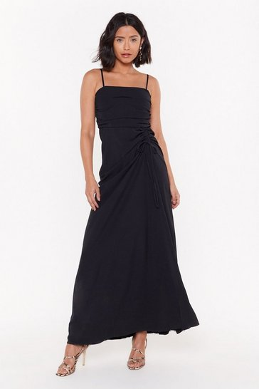 Womens Black Up In the Square Ruched Maxi Dress