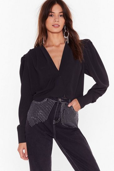 Womens Black Power Shoulder Wrap Blouse