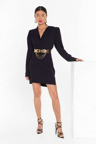 Womens Black Take It to the Extreme Puff Shoulder Mini Dress