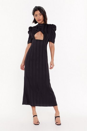 Womens Black Open to It Striped Maxi Dress
