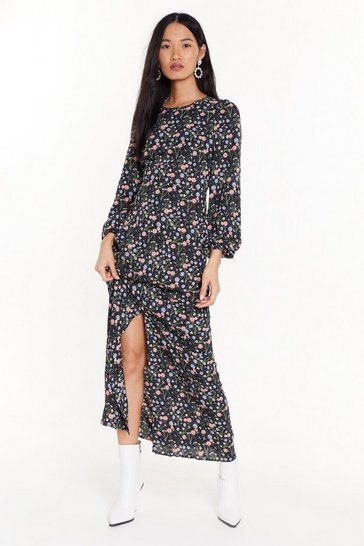 Black Stole the Grow Floral Midi Dress