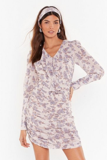 Womens Cream Plant Stay Away Floral Mini Dress and Headband Set