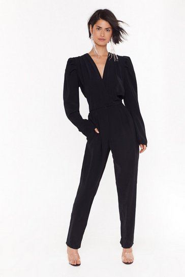 Womens Black Make a Statement Wrap Jumpsuit