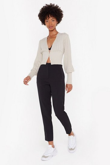 Womens Black Who Wears the High-Waisted Tapered Pants