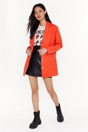Womens Orange Faux Wool I Never Longline Coat