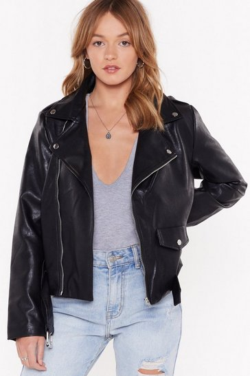 Womens Black Faux Leather Had It So Good Moto Jacket