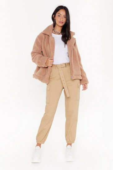 Camel As Fur Usual Aviator Faux Fur Jacket