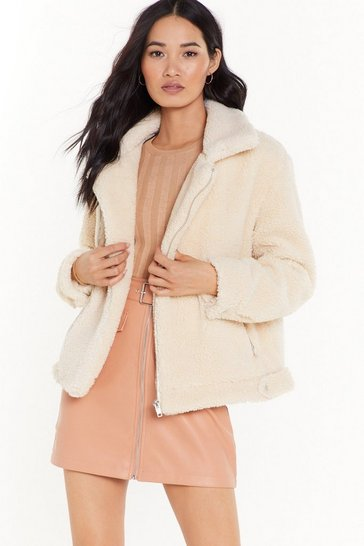 Womens Cream As Fur Usual Aviator Faux Fur Jacket