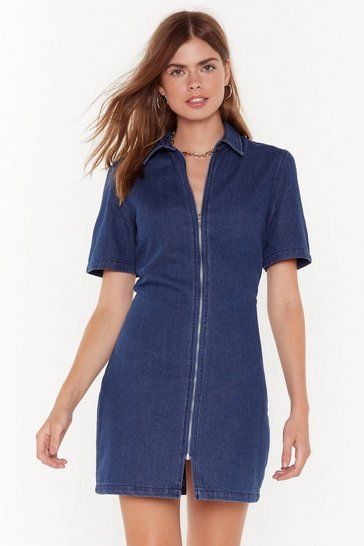 Dark blue Make Zip Quick Denim Mini Dress