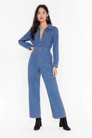 Womens Blue Zip Off the Old Block Wide-Leg Denim Boilersuit