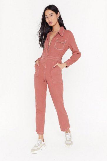 Womens Rose Talk Us Through the Stitch-uation Denim Boilersuit