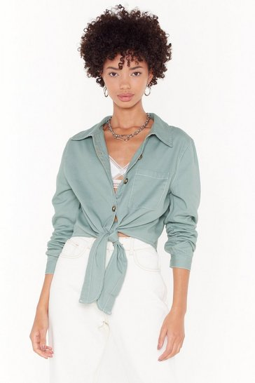 Womens Sage Tie to Keep Up Cropped Denim Shirt