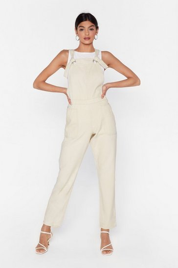 Cream Keep Up the Good Work Relaxed Denim Overalls