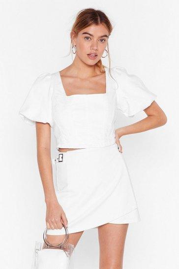 White If the Wrap Fits Denim Mini Skirt