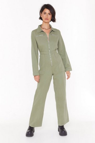 Womens Sage Zip Off the Old Block Wide-Leg Denim Boilersuit